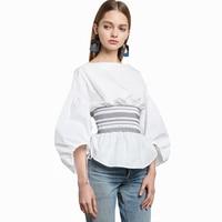 OL Elegant Fashion Slim Elastic Waist Women Lace Up Flare Sleeve Blouse Feminina Ruffles Back Zipper