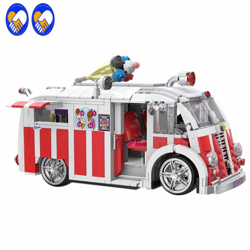 A Toy A Dream 08004 Genuine Technic Series The Ice Cream Car Set Building Blocks Bricks Children Educational Toys Best Gifts 1