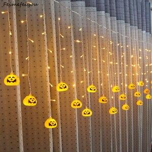 Image 1 - Feimefeiyou 3.5m 96 נוריות clampada led דלעת פיות אורות LED וילון מחרוזת אורות מקורה מסיבת דקור led רצועת