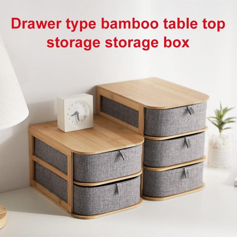 Boîte de rangement multi-couches en bois de bambou avec tiroirs en tissu Oxford pour bureau LE66