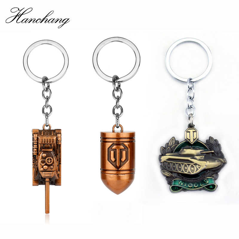 HANCHANG Fashion Game Jewelry World Of Tanks WOT Pendent Keychain Tank Badge Accessories Keyring For Men Car Key Christmas Gift
