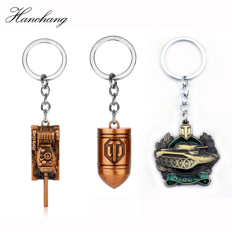 HANCHANG Fashion Game Jewelry World Of Tanks WOT Pendent Keychain Tank Badge Accessories Keyring For Men Car Key Christmas Gift image