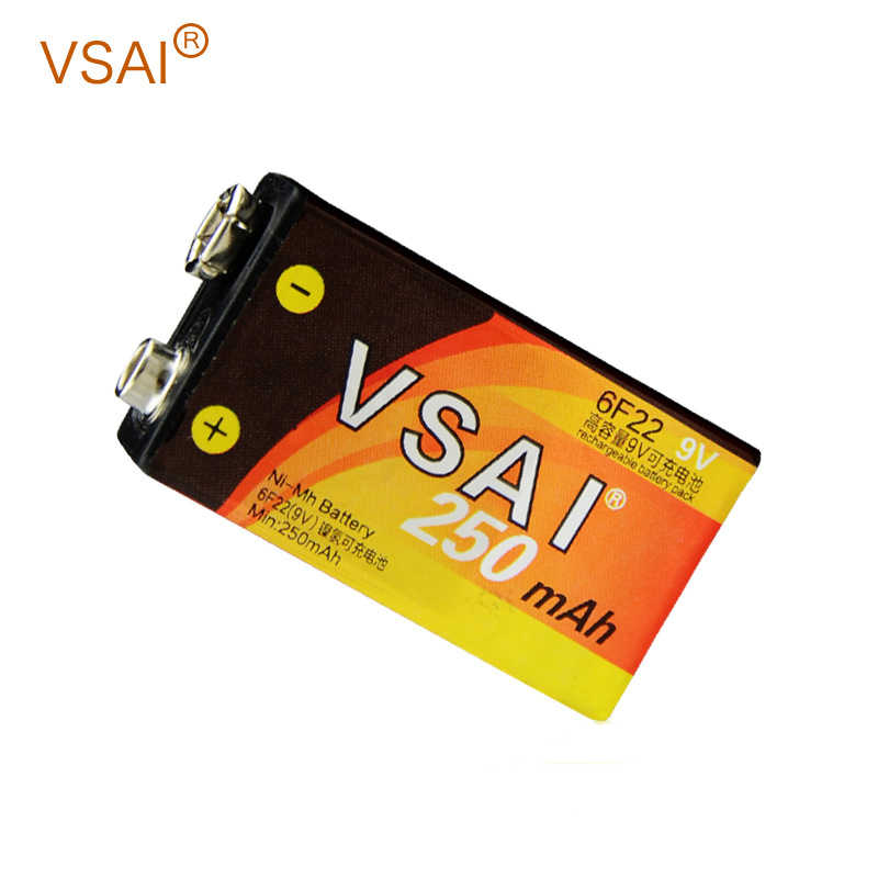 Vsai 250 mah 6f22ニッケル水素nimh 9ボルト充電式バッテリー用警報ワイヤレスマイクインターホン