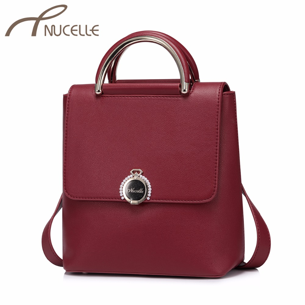 NUCELLE Women's PU Leather Backpack Ladies Fashion Brief Double Shoulder Bags Female Diamond Beading Leisure Rucksack NZ4136