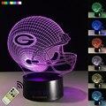 NFL Green Bay Packers Visual 3D Luz Conduzida Da Noite de Futebol capacete Ilusão Lâmpada de Cabeceira Criativo 7 Cores de Aniversário Ano Novo presente