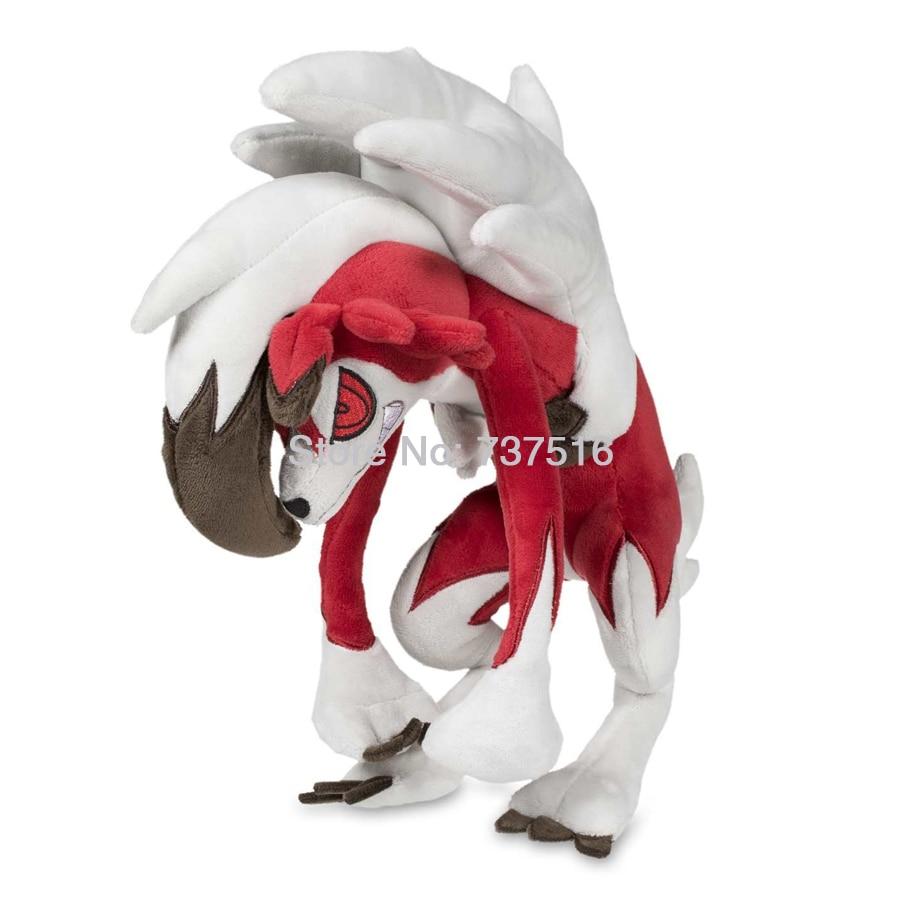 Nouveau Anime Brodé Yeux et UN Sourire plein de dents Alolan Lycanroc Minuit Forme En Peluche Poupée 10 pouce Doux Animaux Jouets Enfants cadeaux
