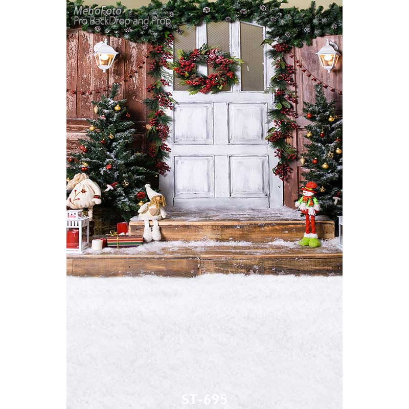 Christmas background vinyl photography backdrops Computer Printed christmas tree and Gift box for Photo studio ST-695 white 3d decorations xmas tree hall fireplace room backdrops vinyl cloth computer printed christmas photo studio background