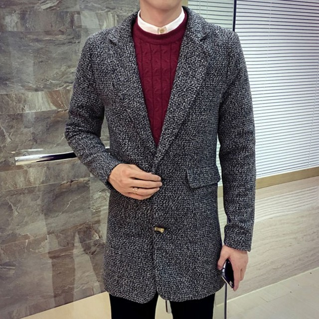 British Autumn Winter Mens Wool Coat Slim Fit Sobretudo Large Size M-5XL Male Trench Turn Down Collar Business Casual Overcoats 2