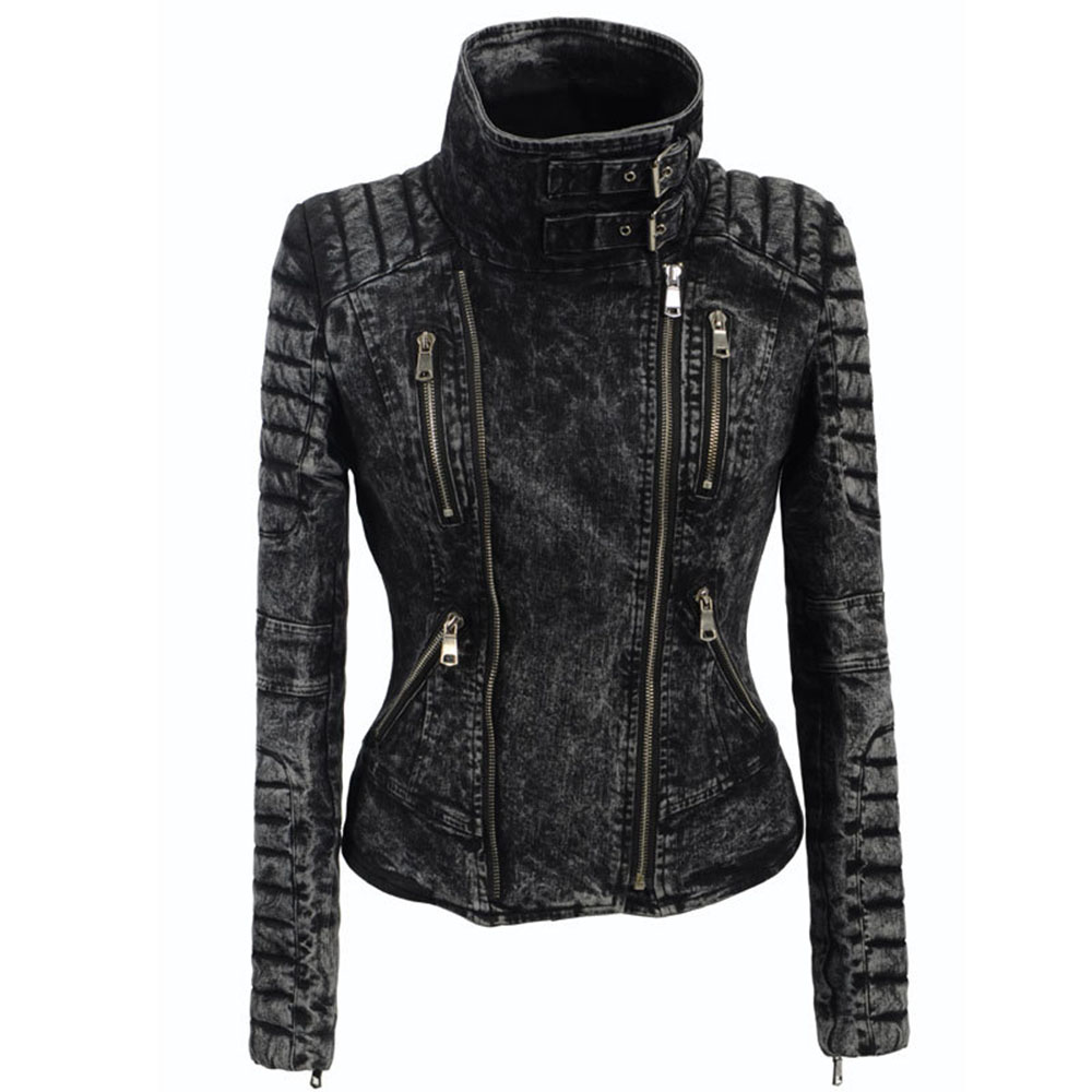 Women Spring coat Black Fashion Motorcycle Jacket Outerwear faux   leather   PU Jacket Gothic faux   leather   coats 2019