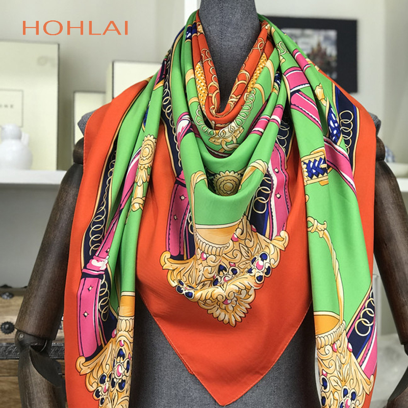 100% Silk Scarf Women Bandana Hijab Spring Autumn Female Square Silk Scarves For Women Printed Shawls Beach Cover-ups 130*130cm