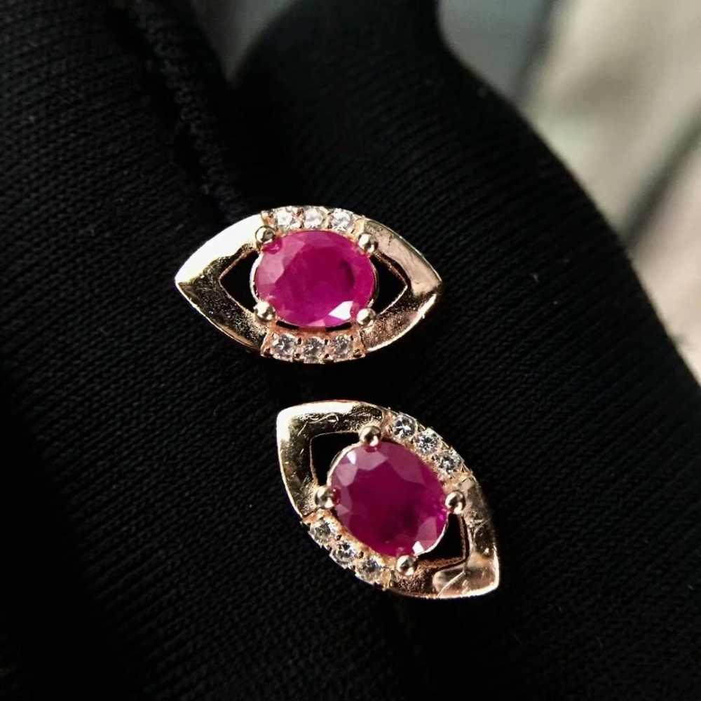 Shilovem 925 טבעי טבעי רובי עגילי תכשיטים להתאמה אישית טרנדי נשים המפלגה 2018 חדש tfe040601agh
