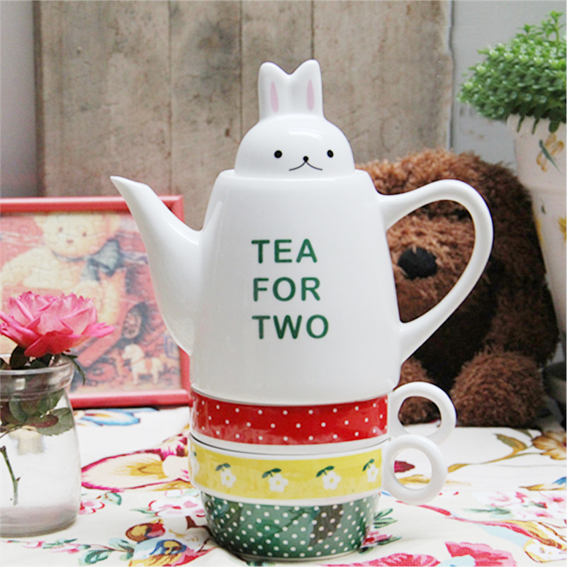 Cute Small Rabbit Head Cover Tea For Two Ceramic Teapot