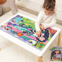 104pcs Kids Large Jigsaw Puzzle Set Baby Toys Big World Map Dinosaur Sleeping Beauty Educational Puzzles Toys For Children Gift