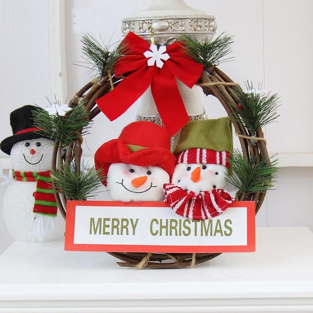 Cute 30cm Santa Claus Snowman Wreath Christmas Large Wreath Door