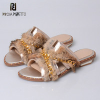 Prova Perfetto Luxury Genuine Leather Summer Women Rabbit Fur Slippers Gold Chain Decor Outside Slides Flat