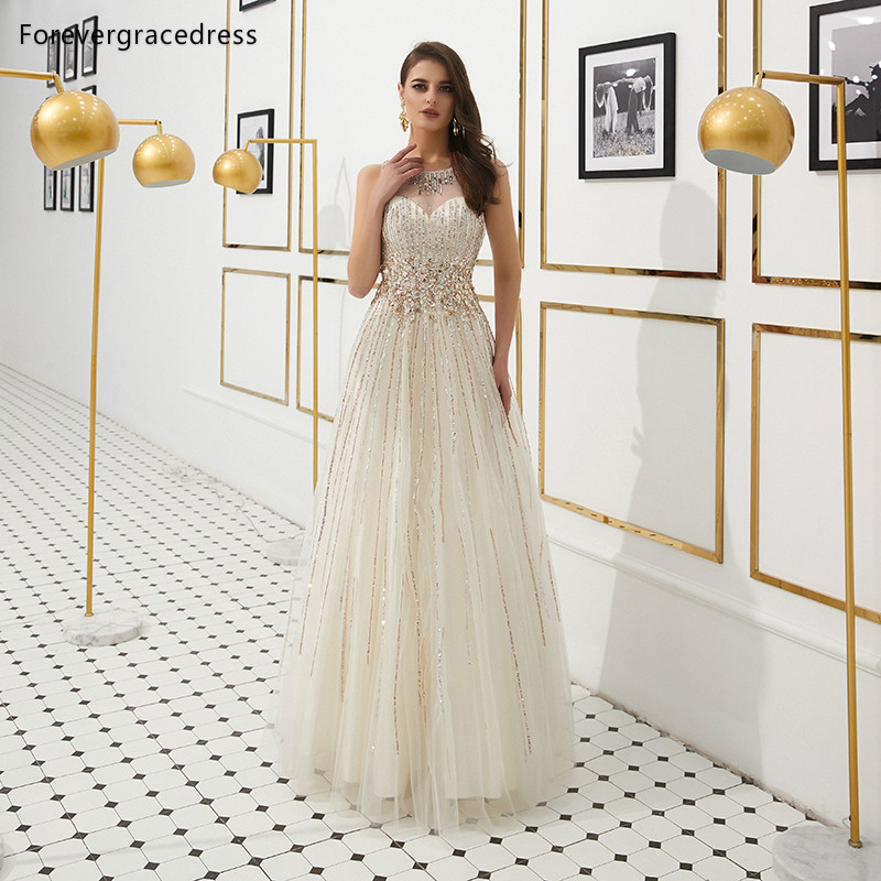 Forevergracedress A Line Sleeveless   Prom     Dresses   2019 Illusion Crystals Beading Formal Party Gowns Plus Size Custom Made