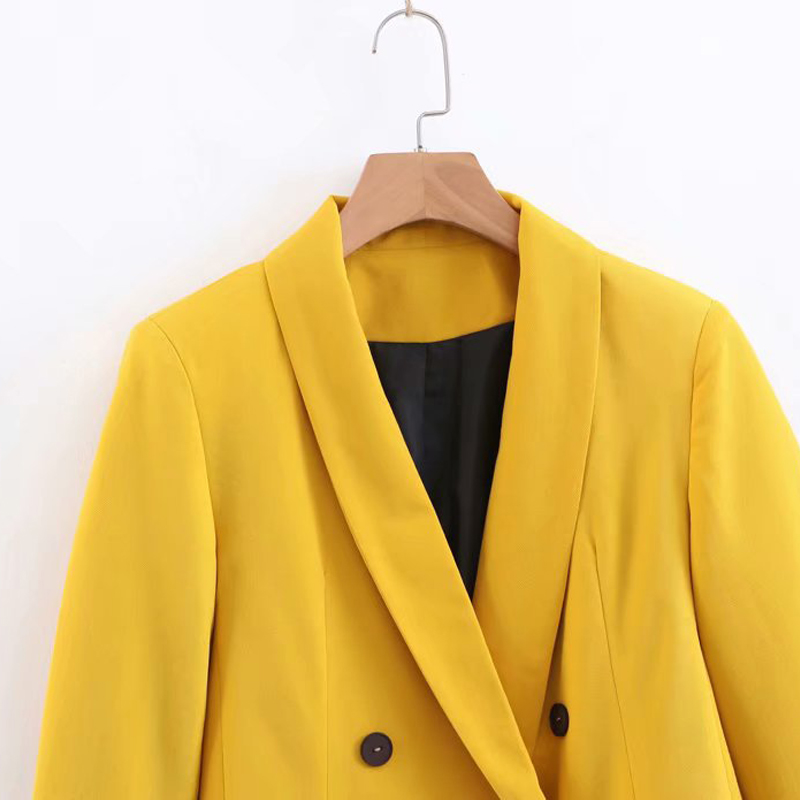 2019 New Spring Autumn Yellow Long Blazer Ladis Elegant Notched Collar Solid Blazers And Jackets Suit Chaqueta Mujer