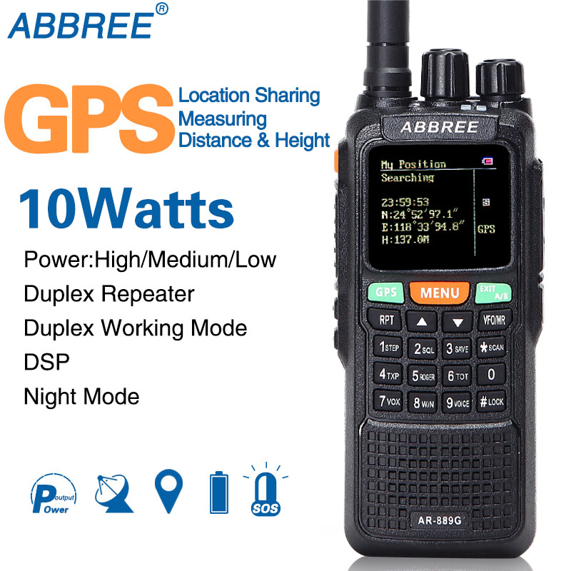 ABBREE AR-889G GPS 10 w Talkie Walkie 889g SOS 999CH Duplex Répéteur mode Nuit Double Bande VHF UHF Jambon CB Radio HF Émetteur-Récepteur