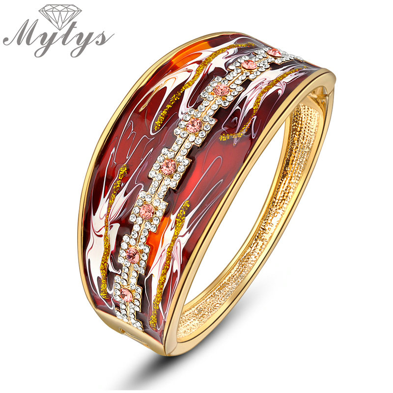 Mytys Dark Red Enamel Print Bangle for Women Fashion Modern Jewelry Cubic Zircon High Quality Limited Sale B911