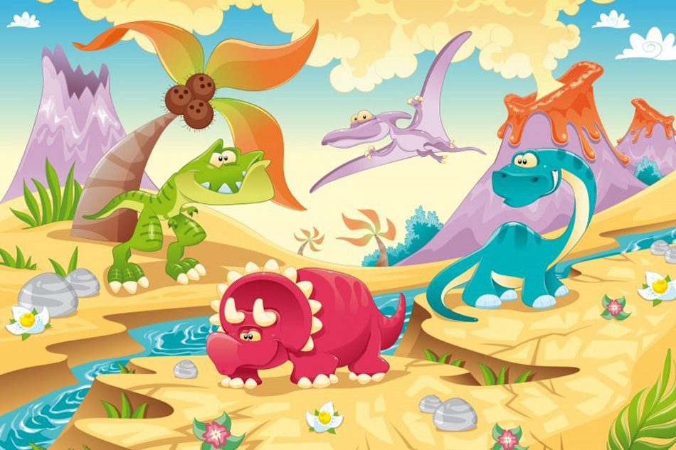 Online buy wholesale dinosaur wall murals from china for Cartoon mural wallpaper