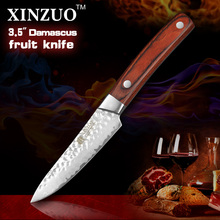XINZUO 3.5″ inch fruit knife Damascus kitchen knives surper sharp paring kitchen knife utility knife wood handle FREE SHIPPING