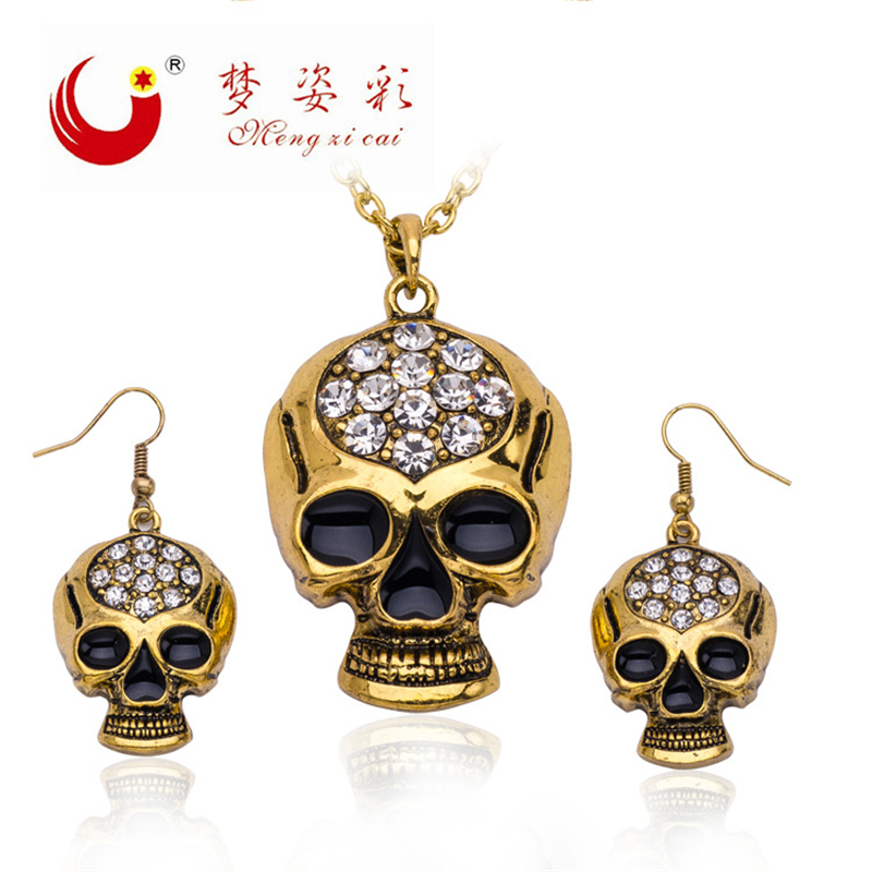 New Rhinestone Statement Necklace Accessories For Men Women Crystal Skull Pendienties Earrings Fashion Jewelry Sets Party Gifts