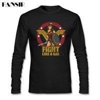 Wonder Woman American Movie T-shirts Men Long Sleeve CrewNeck Cotton Funny Men T Shirt XXXL