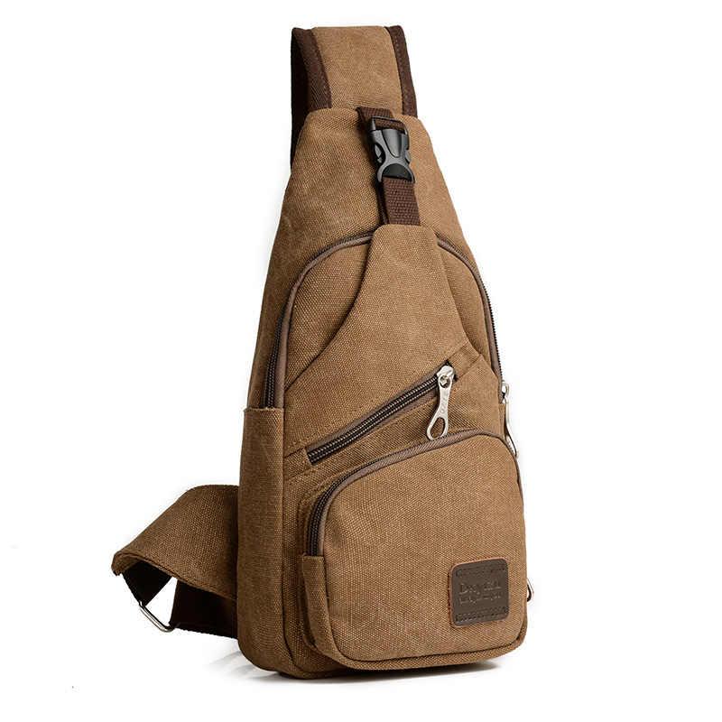802923697c52 Новая Винтажная Мужская военная сумка через плечо Повседневная Дорожная  сумка-рюкзак сумка на грудь холщовая