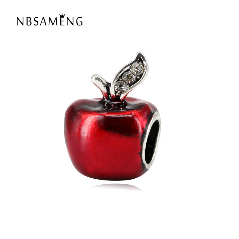 European Red Glaze Apple Silver Plated Crystal DIY Bead Charms Fit Pandora Bracelets & Bangles Necklace Christmas Gift Jewelry