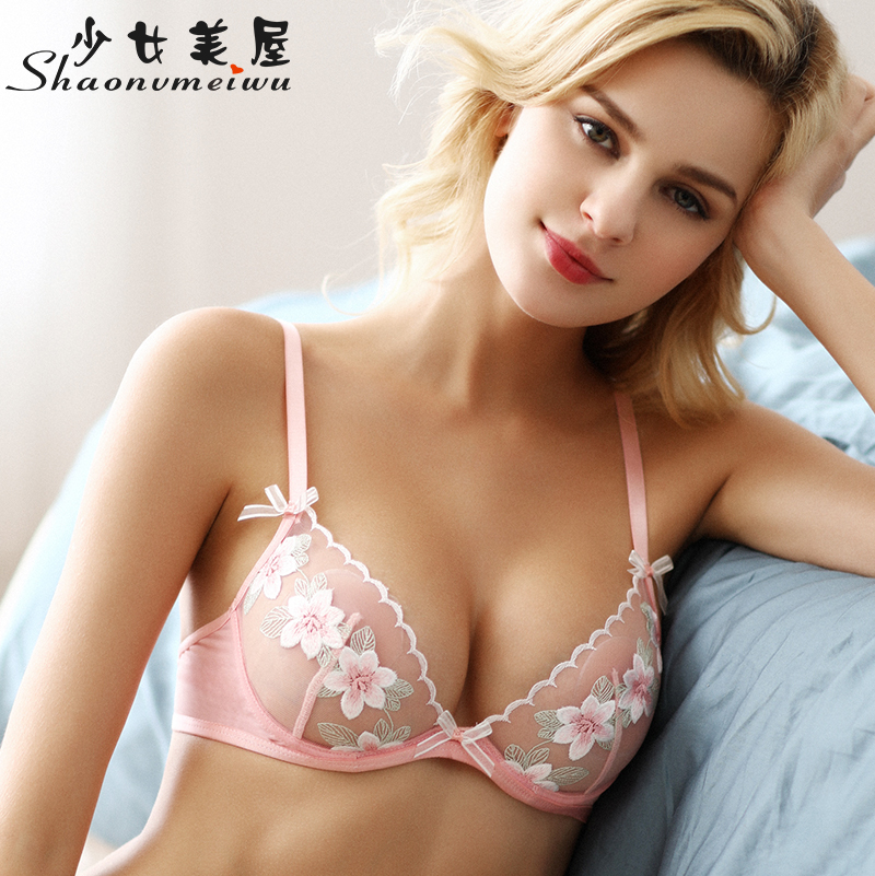 Shaonvmeiwu Ultra Thin Transparent Mesh Embroidered Bra Set Bra Lingerie See-through Seduction Pink