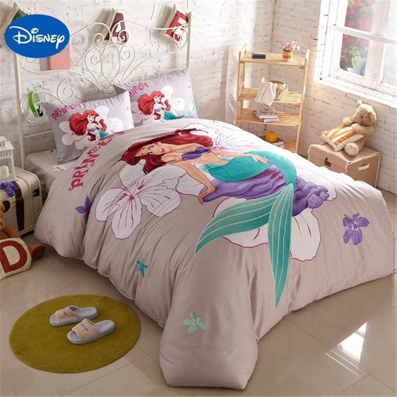 Disney Authentic Mermaid Ariel Bedding Set Girl's Children's Bedroom Decor 100% Cotton Bedsheet Duvet Cover Set 3/4pcs no Filler