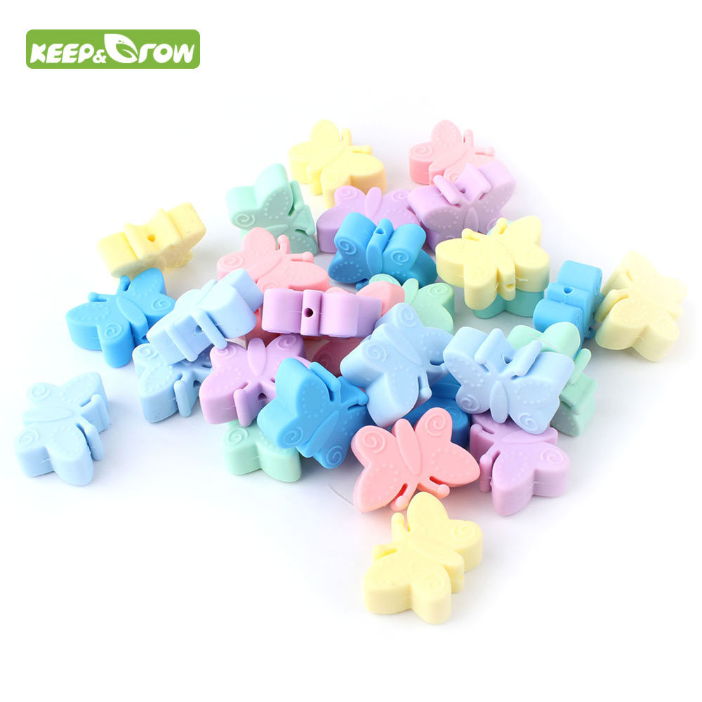 KEEP&GORW 5Pcs Butterfly Silicone Beads BPA Free Baby Teething Beads Chewable Pendant Teething Toys DIY Pacifier Chain Accessory