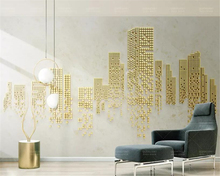beibehang Custom 3D Photo Wallpape 3d geometric cubes golden city TV background wall papel de parede wallpaper mural