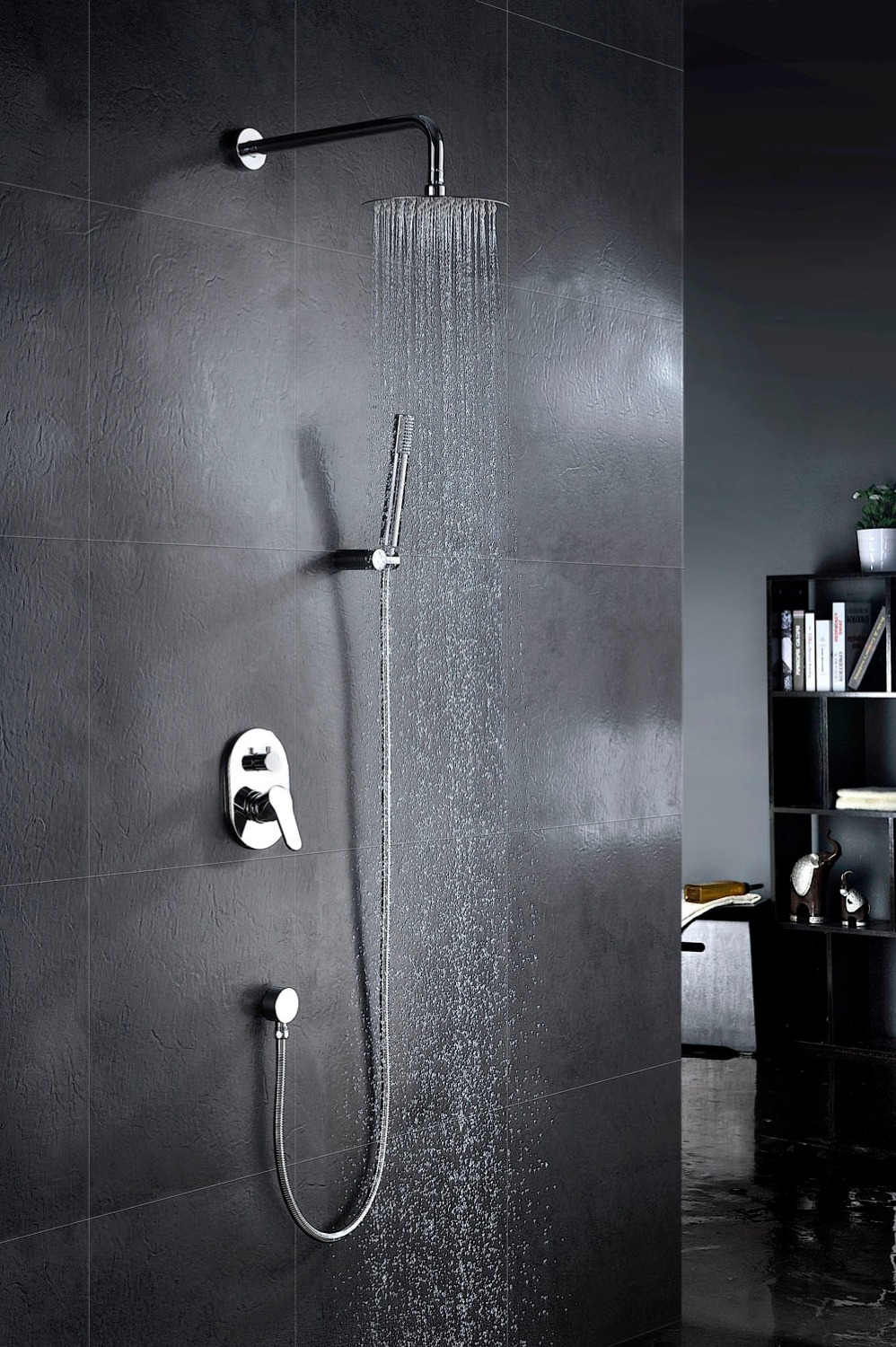Concealed Shower Mixer With Diverter Brass Shower Arm with 8Stainless Steel Shower Head Brass Hand Shower