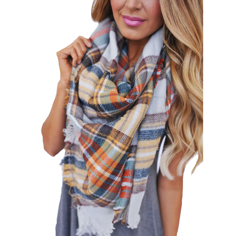 Fashion Plaid Girls Scarf Cashmere Pashmina Designer Blanket font b Tartan b font Brand Shawl Thicken