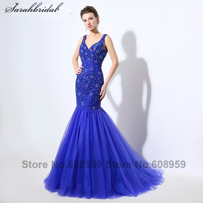 Luxury Royal Blue Criss Cross Mermaid Evening Gown Crystal Beaded Sequins Long Prom Dress Party Real Picture Vestido LSX049