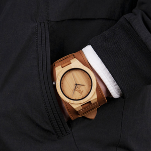 Image 4 - Reloj masculino BOBO BIRD Bamboo para hombre, reloj de madera, relojes de cuarzo, logotipo personalizado, se acepta Envío Directo