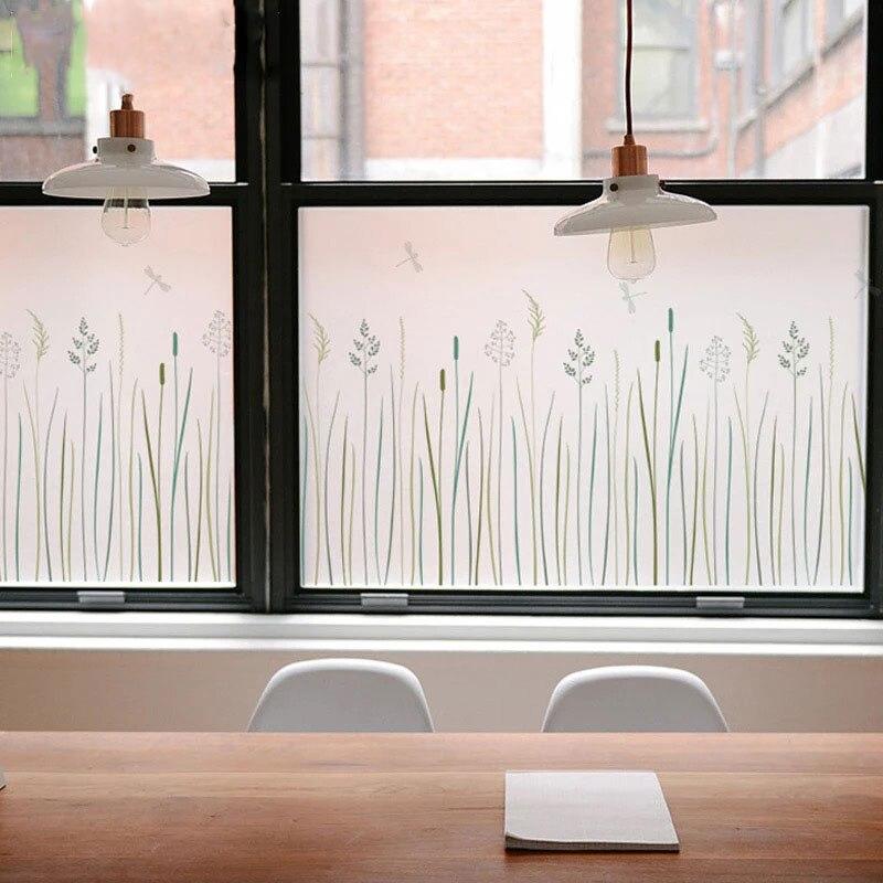 Grass Butterfly 3D No Glue Window Cover Film Glass