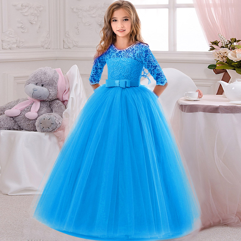 Flower     Girl's   Birthday Banquet Lace Stitching   Dress   Elegant   Girls'S  chool Party Dinner   Dresses   for Graduation Ceremony Ball