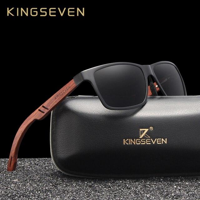 KINGSEVEN Handmade Bubinga Wooden Mens glasses Polarized sunglasses Women Mirror Lens Sun Glasses Driving Eyewear
