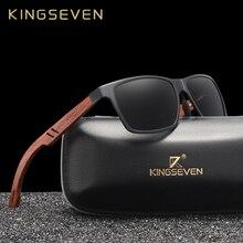 KINGSEVEN اليدوية بوبينغ] خشبية الرجال نظارات الاستقطاب النظارات الشمسية النساء عدسات عاكسة نظارات شمسية القيادة نظارات