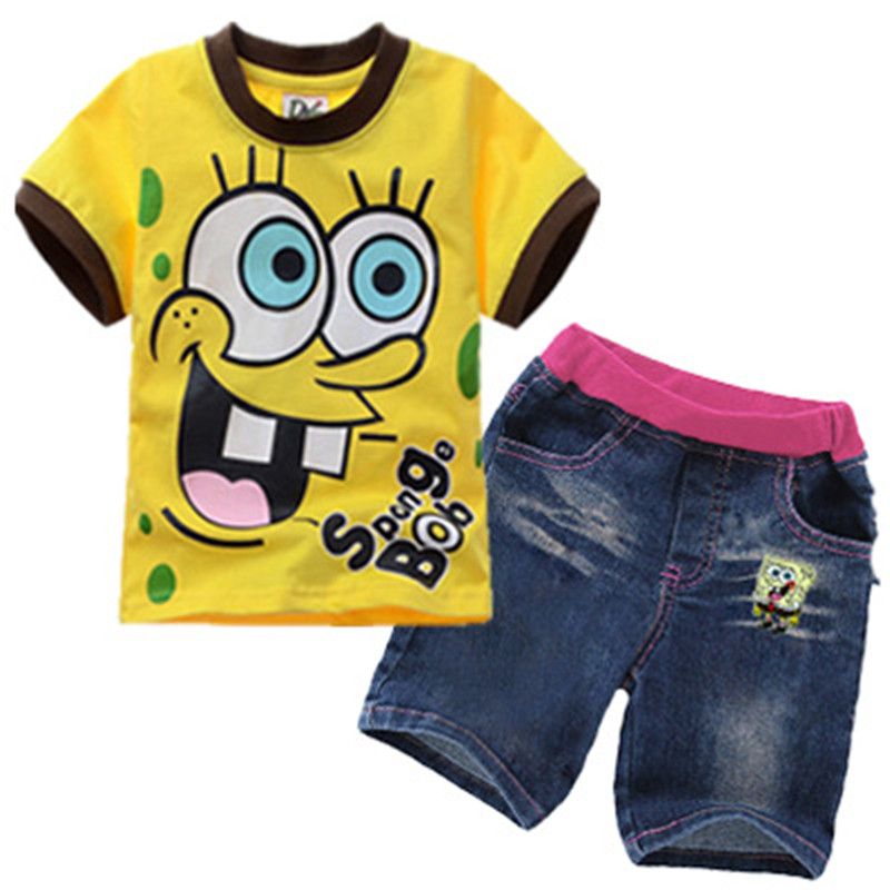 SpongeBob Face Girls' 2 Piece Outfit Short Sleeve T Shirt and Pant Set Spongebob 2017 Summer Children Clothing Set for 3-9years family fashion summer tops 2015 clothers short sleeve t shirt stripe navy style shirt clothes for mother dad and children