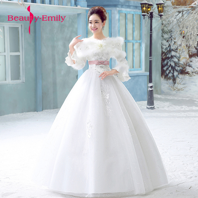 Winter Full Sleeves Wedding Dress 2018 Embroidery Tulle White Gowns For Marriage Warm Bride Dresses