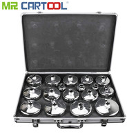 MR CARTOOL 17Pcs Engine Oil Fuel Filter Wrench Cap Set Kit Parts Removal Tool Auto Socket Chrome Plated Repair Remover Tools