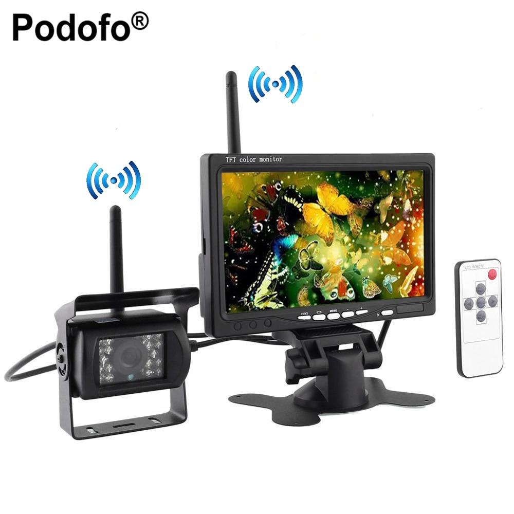 Podofo Embutido Sem Fio Noite Ir Visão Vista Traseira Back up Sistema de Câmera + 7 HD Monitor para RV Reboque Do Caminhão de Ônibus