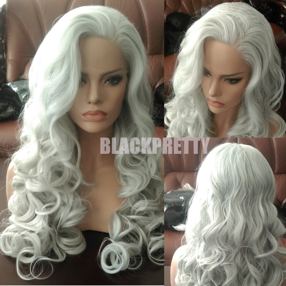 Ombre Long Wavy Silver Grey Hair Wig Synthetic Gray Lace Front Wigs Heat  Resistant White Grey Loose Curly Wigs For Black Women ca30c192d7