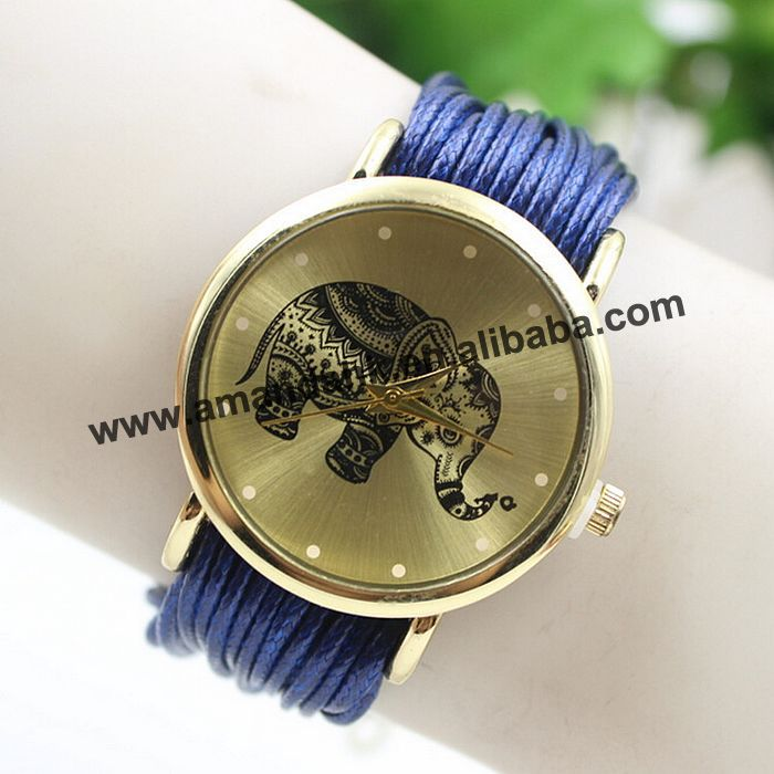 Fashion Elephant Quartz Watch Multilayer Rope Leather Bracelet Watches Women Casual Fashion Gold Wrap Around Wrist Watch