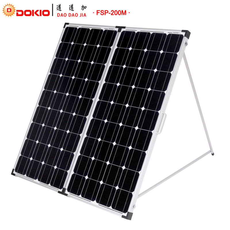 Dokio Brand 200W 2Pcs x100W Foldable Solar Panel China 10A 12V 24V Controller Easy to Carry