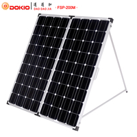 Dokio Brand 200W(2Pcs x100W) Foldable Solar Panel China +10A 12V/24V Controller Easy to Carry Cell/System Charger Solar Panel