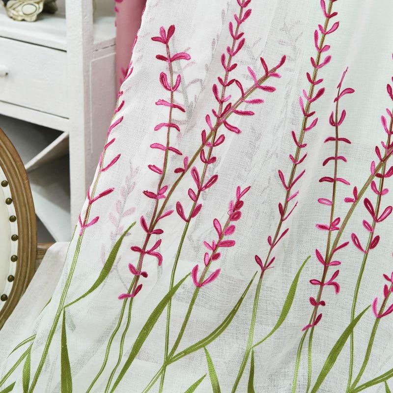 Estilo moderno lavanda patrón bordado azul cortinas de lino para ...